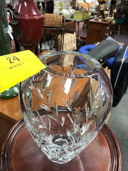 "Signed Royal Doulton Heavy Cut Crystal Vase; 9"" tall"
