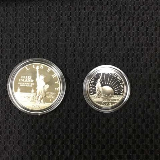 1986 United States Liberty Coins One Dollar and Half Dollar, Boxed Set; Uncirculated