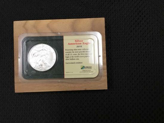 2010 Silver American Eagle Fine Silver Dollar; Uncirculated Condition; 99.93% Silver Composition