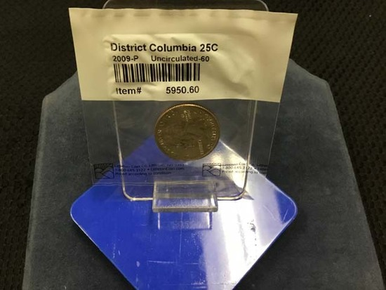2009 District of Columbia Quarter; Uncirculated; Sealed in Original Plastic Protective Sleeve