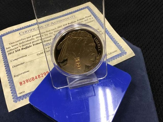 2011 $50 Buffalo Tribute Proof Liberty Gold Coin (Copy); includes Certificate of Authenticity