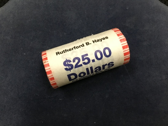 2011 $25 New Bank Roll of Rutherford B. Hayes Presidential Gold One Dollar Uncirculated Coins