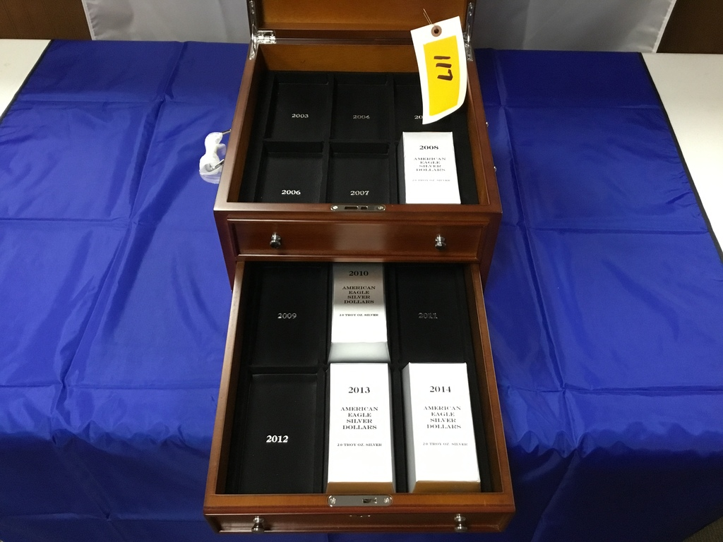 American Eagle Silver Dollars 2.0 Troy Ozs. Silver in 2 drawer, hinged lid, velvet lined display cas