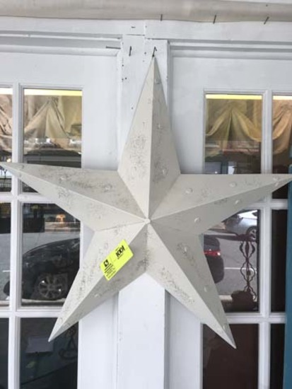"""Two Decorative Metal Stars, White with Gold Specks, 34"""" tall and  White, 25"""" tall"""