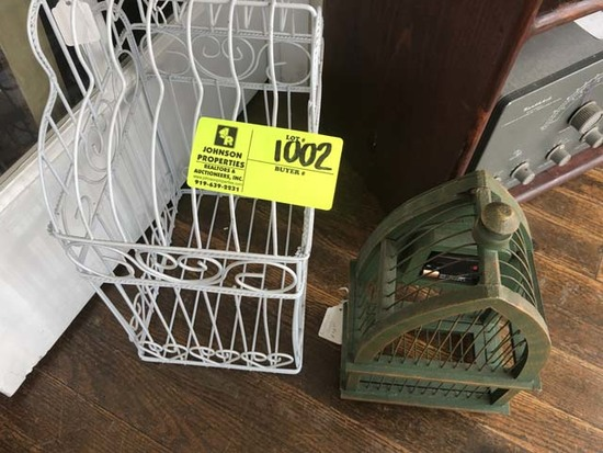 Two Bird Cages; Metal White and Wooden Green Distressed Paint