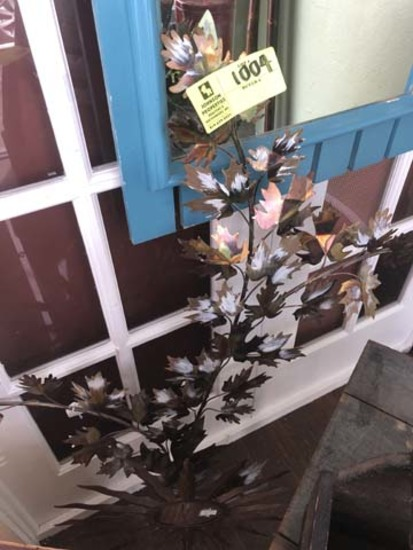 "Decorative Copper Leaf Designed Wall Art, 43"" tall, and Metal Sunburst Designed Candle Stand, 25"" ta"