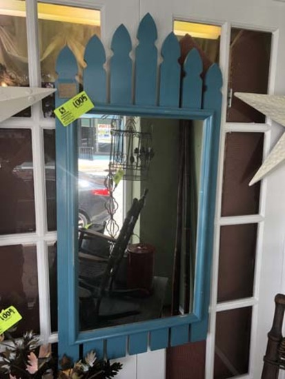 """Mirror, made to look like Picket Fence, 42"""" tall x 21"""" wide; Painted Blue"""