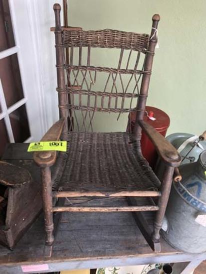 "Primitive Wicker Child's Rocking Chair, 28"" tall x 16"" across"