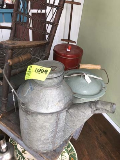 """Group of Tin Containers; includes Armco Can with Lid and Spout, 15"""" tall; Enamelware Bedside Pan, 8"""""""