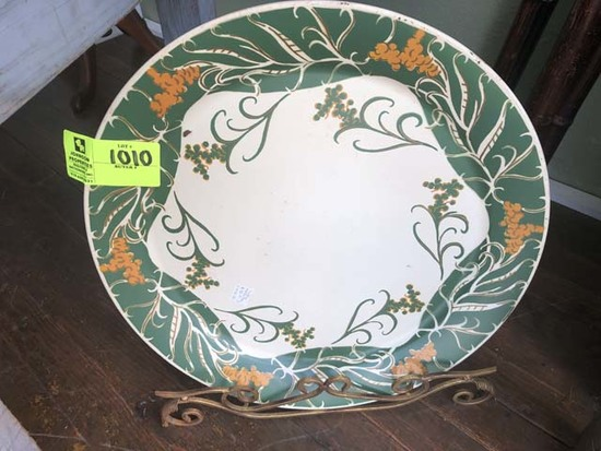 """Tin Decorative Platter, Green and Gold, with Metal Stand; 20"""" diameter"""
