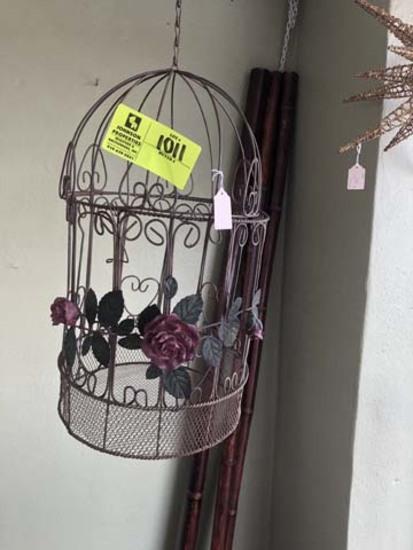 "Metal Rose Decorated Hanging Bird Cage, 18"" tall, 11"" diameter"