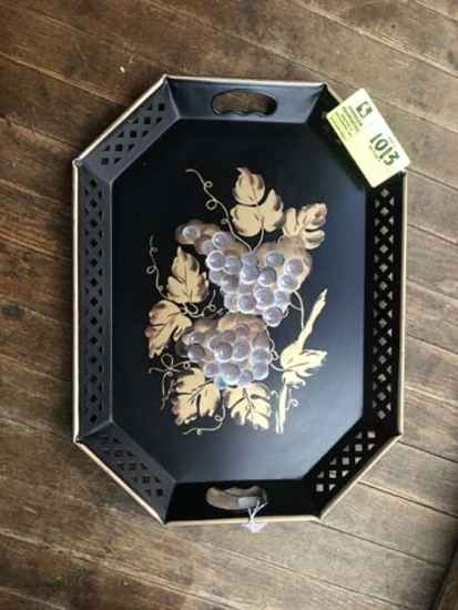 """Tole Tray, Black and Gold, 20""""x15"""""""
