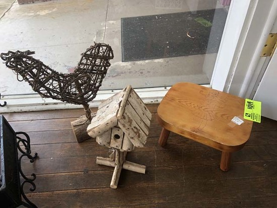 """Group of Decorative Items; includes Wooden Stool, 7"""" tall, Signed; Wood Birdhouse, 12"""" tall, and Woo"""