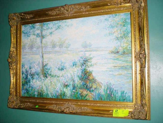 "Gold Ornate Framed ""Monet Colors"" Oil on Canvas Painting, Signed P. Belloni"