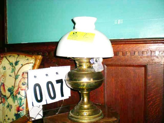 "Brass Lamp with Milk Glass Globe, 17"" tall, 10"" diameter, Converted from Oil to Electricity"