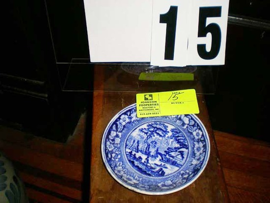 "Blue Asian Scene Designed Dish, Marked Wildrose England, 6.5"" diameter"