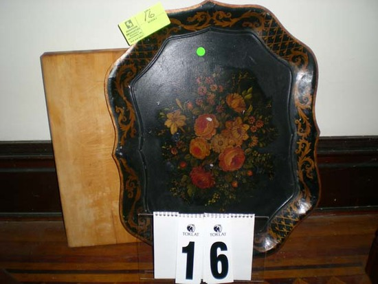 "Hand Painted Floral Tole Tray, 25""x19"" and Wooden Chopping Block, 20""x15.5"""