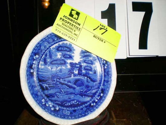 Small Hand Painted Blue Asian Designed China Dish, Marked Copeland Spode's Tower England