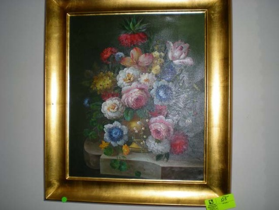 "Gold Wooden Framed Oil on Canvas Still Life of Floral Arrangement on Pedestal, 31""x27"""