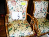 Pair of Bamboo Style Chairs with Laminated Cotton Parrot and Floral Designed Coverings