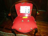 Red Oriental Designed Upholstered Small Horseshoe Shaped Arm Chair
