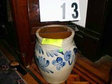 Vintage Blue Floral Designed Pottery Urn with Handles, Hand Painted, Marked