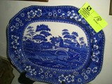 Large Hand Painted Blue Asian Designed China Platter, Marked Copeland Spode's Tower England