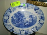 Large Blue (various shades) China Platter, Marked Woods' Ware England