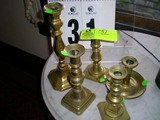 Group of Five Brass Candlesticks, 10