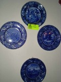 Four Decorative Hand Painted Pottery  Plates with Historical Scenes