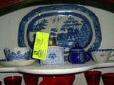 Group of Decorative Items; includes Blue and White Glass Container with Silver Plate Cover