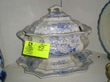 Large Blue and White Soup Tureen with Cover and Underplate; Tureen 13