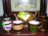 Lustre Ware Tea Pot, Creamer, and Three Cups (different styles)
