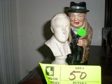 Toby Mug, marked Winston Churchill 1940 and Small Bust of Franklin D. Roosevelt