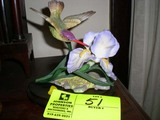 Capodimonte Porcelain Violet Crowned Hummingbird with Iris on Wooden Stand
