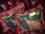 Matching Pair of Bird Themed Designer Pillows with Red and Gold Fringe, 18