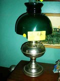 Stainless Steel Oil Lamp with Green Glass Shade, Converted to Electric, 21