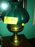 Brass Oil Lantern with Green Glass Shade, Converted to Electric, 16