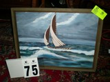 Framed Oil on Canvas of Sailboat at Sea, 26