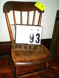 Small Wooden Straight Chair with Carved Bottom and Spindle Back, 30