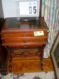 Hand Painted Floral Top Wooden Vanity Table with Mirrored Back and Carved Legs