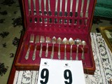 Wm A. Rogers Silver Overlay Flatware Set in Wooden Box, Monogrammed