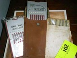 Danish Whiffs Cigar Box with Vintage Baby Calculator in Suede Pouch, Magic Brain Calculator