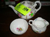 Coalport England China Tea Pot and Cream and Sugar, Floral Designed