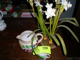 Decorative Items; includes Floral Bulbs with Blooms, Small Cup, and Small Pitcher