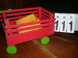 Red Wooden Toy Trailer with Wooden Wheels, 14