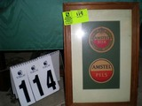 Framed Pair of Amstel Beer Advertising Coasters, 17