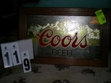Framed Coors Beer Mirrored Advertising Sign, 28