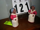 Set of Aunt Jemima Book Ends, Painted Wood (Red, White, and Black)
