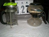 Vintage Glass and Metal Coffee Press and Vintage Glass Coffee Brewer